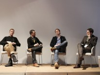 "Diskussionsrunde ""Trend Research"" mit Gert van de Keuken (Trend Union), Tobias Mayer (Airbus), Nick Sohnemann (TrendONE), Andreas Ruby (Moderator) | © ap35, Daniel Grund"
