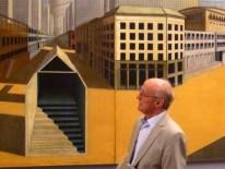 Nerdinger vor einem der Highlghts der Ausstellung - dem Wandgemälde 'La citta analoga' für die XV. Triennale di Milano 1973