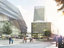 Der geplante Flügelbahnhof an der Arnulfstraße, links das Hauptgebäude. Simulation © Auer Weber Architekten