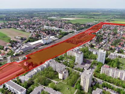 Luftbild mit Kennzeichnung des Wettbewerbgebiets für Wohnquartier Ratoldstraße München
