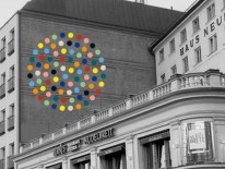 """Inklusionspunkt"", Fassadenarbeit an der Ziegelbrandwand des Hotel Louis, bis November 2016; © Susanne Wagner"