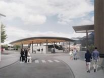 1. Preis, Blick auf den Busbahnhof von Süden, © Fischer & Gibbesch Architekten