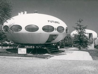 Das FUTURO auf der Internationalen Kunststoffhausausstellung in Lüdenscheidt 1972.
