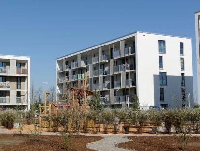 Die neuen Wohnungen der GEWOFAG in der Messestadt Riem. Foto: Roland Weegen