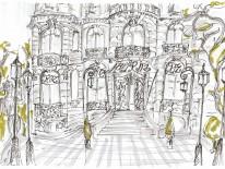 Façade, Exposition Il était une fois le Ritz Paris, aquarelle Vincent Darré - © Artcurial