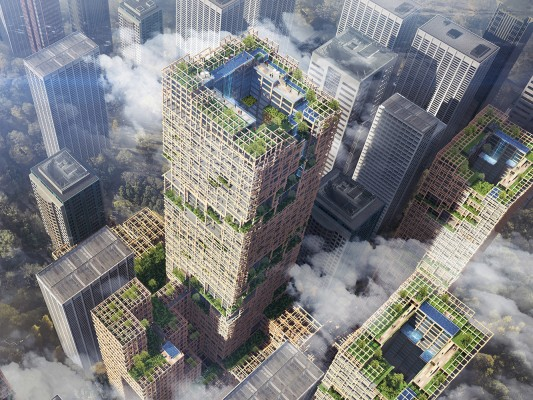 W350 PROJECT SUMITOMO FORESTRY & NIKKEN SEKKEI DEVELOPING A GREEN CITY WITH TIMBER STRUCTURES FOR MORE COMFORTABLE GLOBAL ENVIRONMENT Mixed-Use TOKYO floor area sqm 455,000, height 350