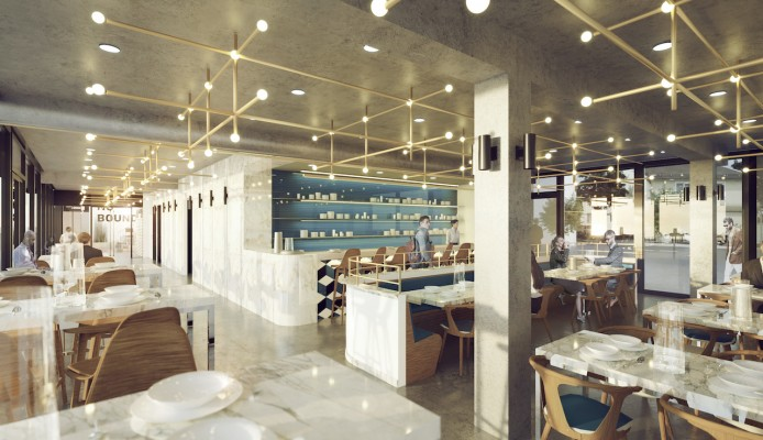 Das hauseigene Restaurant. Rendering: Yes Architecture