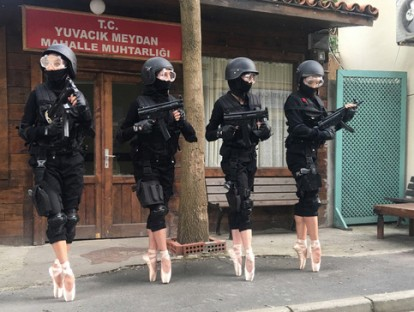 "Halil Altindere  ""Ballerinas and Police"". © Courtesy of the artist and PİLOT Gallery, Istanbul"