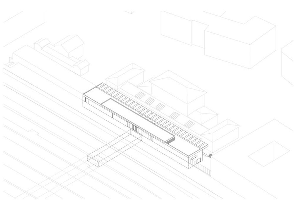 Neues terminalgeb ude f r den bahnhof pasing for Architektur axonometrie